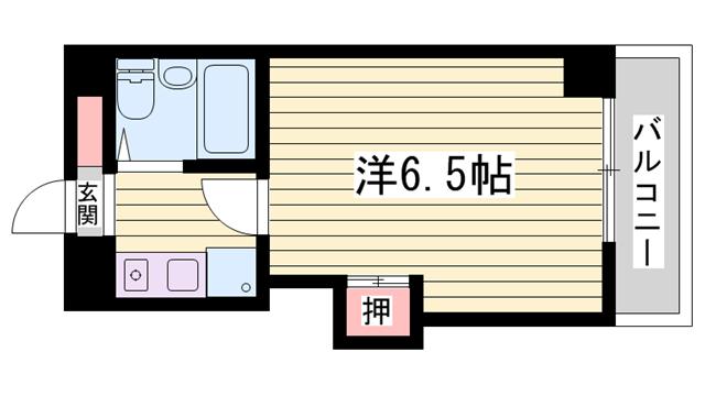 物件番号: 1115111989  姫路市手柄1丁目 1K マンション 間取り図