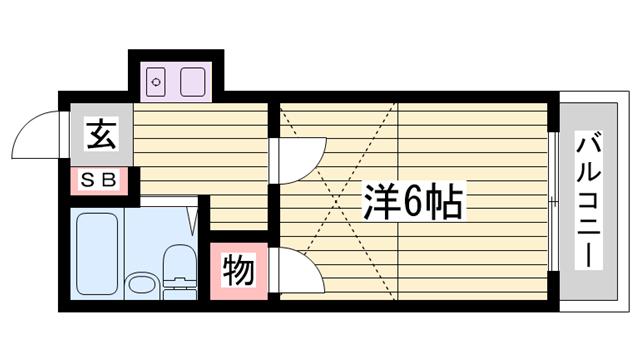 物件番号: 1115112899  姫路市飾磨区今在家 1K ハイツ 間取り図