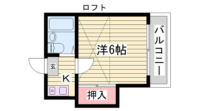物件番号: 1115112904  姫路市城北新町1丁目 1K ハイツ 間取り図