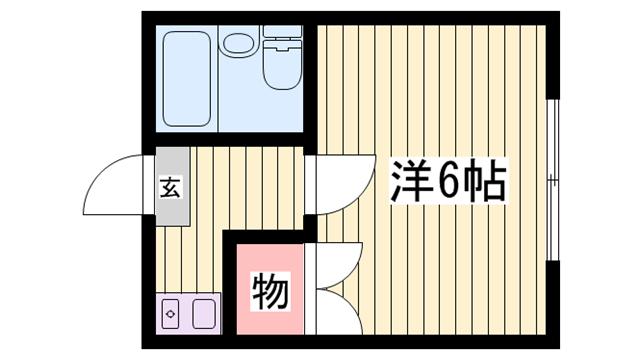 物件番号: 1115112925  姫路市飾磨区思案橋 1K ハイツ 間取り図
