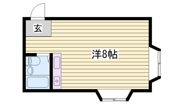 物件番号: 1115112975 カーサ香呂  姫路市香寺町中屋 1R ハイツ 間取り図