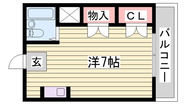 物件番号: 1115113788  姫路市上手野 1R マンション 間取り図