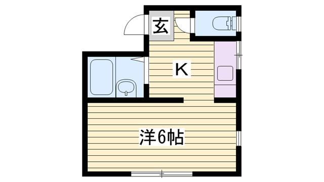 物件番号: 1115114074  姫路市書写 1K ハイツ 間取り図