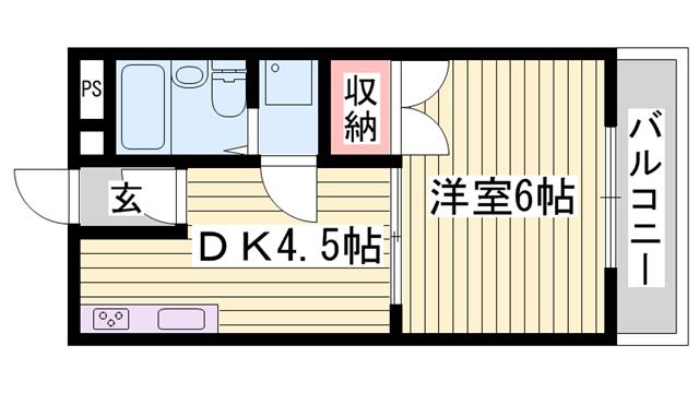 物件番号: 1115114566  姫路市東今宿1丁目 1DK マンション 間取り図