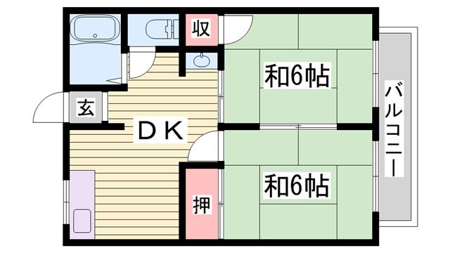 物件番号: 1115115211  姫路市網干区垣内南町 2DK ハイツ 間取り図
