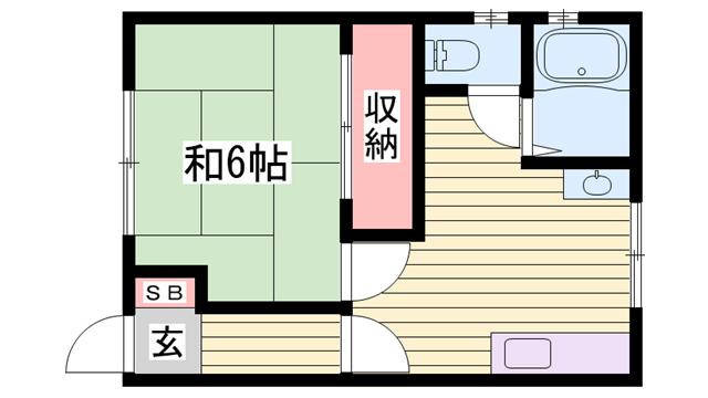 物件番号: 1115116545  姫路市八代緑ケ丘町 1DK ハイツ 間取り図