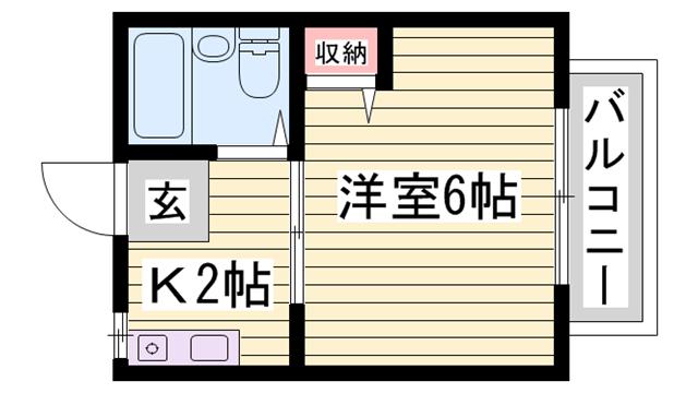 物件番号: 1115116745  姫路市田寺東3丁目 1K ハイツ 間取り図