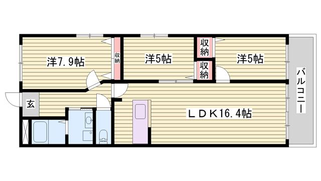 物件番号: 1115119527  姫路市国府寺町 3LDK マンション 間取り図