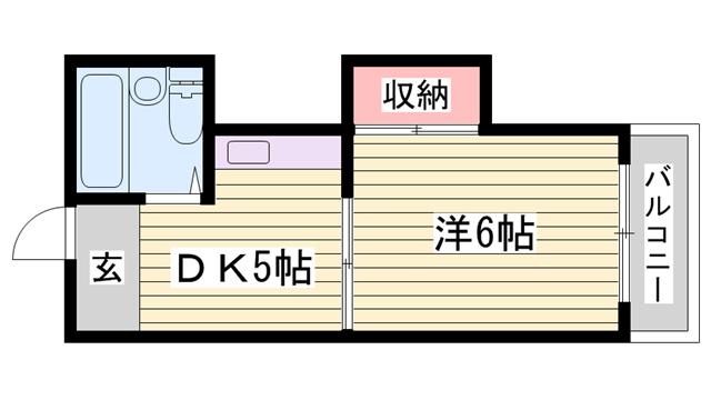 物件番号: 1115120581  姫路市白国4丁目 1DK マンション 間取り図