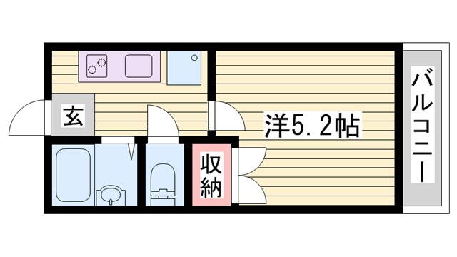 物件番号: 1115120669  姫路市飾磨区西浜町3丁目 1K ハイツ 間取り図