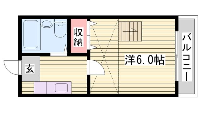 物件番号: 1115120803  姫路市西八代町 1K ハイツ 間取り図