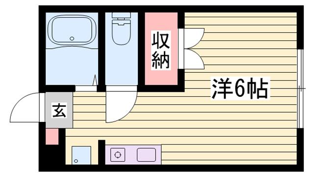 物件番号: 1115121032  姫路市香寺町香呂 1K ハイツ 間取り図
