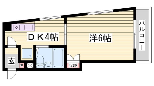 物件番号: 1115121825  姫路市東今宿1丁目 1DK マンション 間取り図