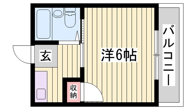 物件番号: 1115124627  姫路市北平野南の町 1K マンション 間取り図