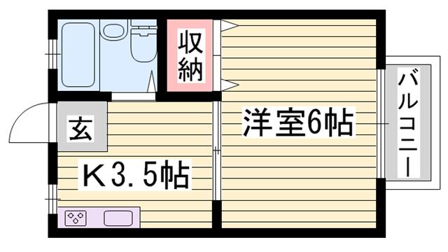 物件番号: 1115124941  姫路市広畑区蒲田3丁目 1DK ハイツ 間取り図