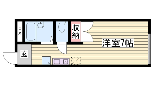 物件番号: 1115126214  姫路市網干区新在家 1K ハイツ 間取り図