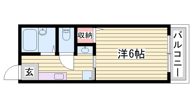 物件番号: 1115126442  姫路市御立中5丁目 1K ハイツ 間取り図