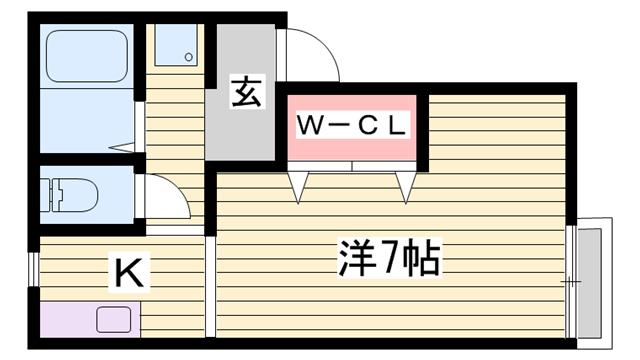 物件番号: 1115128761  姫路市八代 1K ハイツ 間取り図