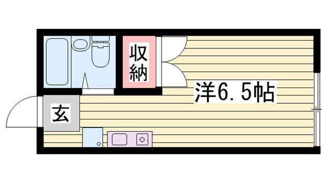 物件番号: 1115129499  姫路市上手野 1R ハイツ 間取り図