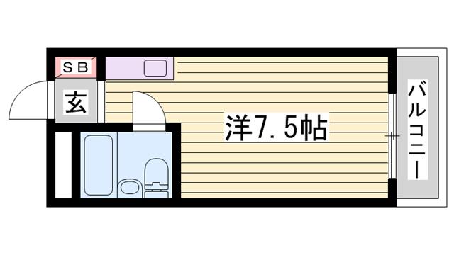 物件番号: 1115131535  姫路市白国1丁目 1R マンション 間取り図