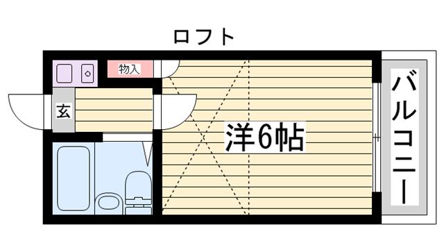 物件番号: 1115133462  姫路市八代東光寺町 1K ハイツ 間取り図