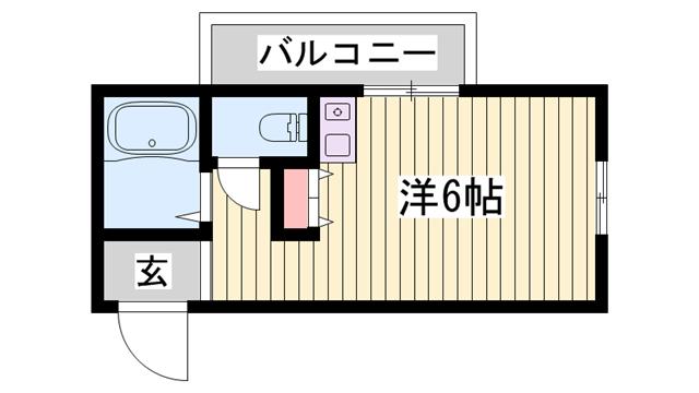 物件番号: 1115134117  姫路市新在家本町2丁目 1R マンション 間取り図
