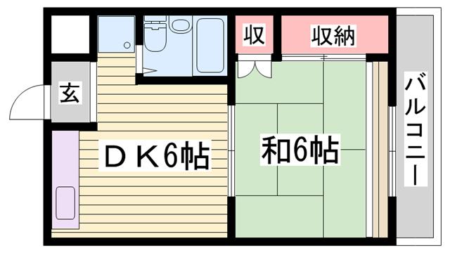 物件番号: 1115134615  姫路市田寺5丁目 1DK マンション 間取り図