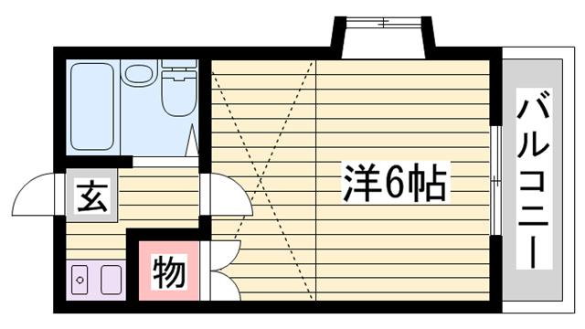 物件番号: 1115134627  姫路市網干区垣内中町 1K ハイツ 間取り図