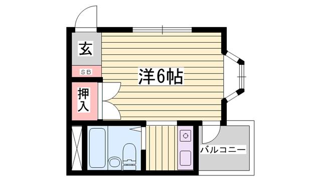 物件番号: 1115135230  姫路市山野井町 1R マンション 間取り図