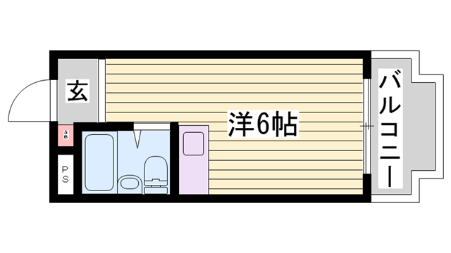 物件番号: 1115136171  姫路市白国5丁目 1R マンション 間取り図