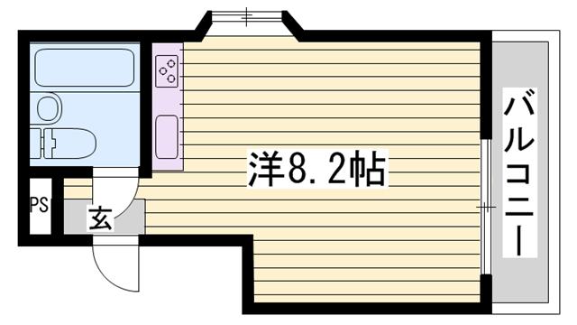 物件番号: 1115136531  姫路市香寺町中屋 1R マンション 間取り図