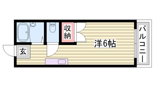 物件番号: 1115136553  姫路市書写台1丁目 1R ハイツ 間取り図