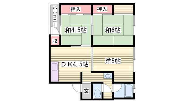 物件番号: 1115137348  姫路市大津区恵美酒町2丁目 3DK マンション 間取り図