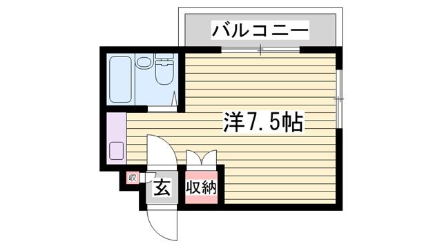物件番号: 1115138113  姫路市伊伝居 1R マンション 間取り図