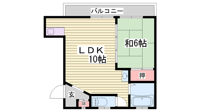 物件番号: 1115140357  姫路市西庄 1LDK マンション 間取り図