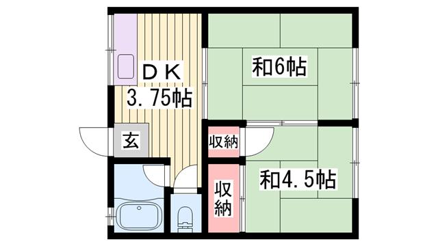 物件番号: 1115142436  姫路市中地 2K ハイツ 間取り図