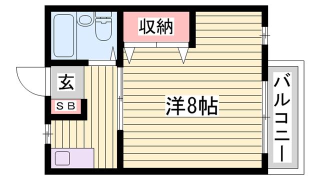 物件番号: 1115145049  加古川市平岡町新在家 1K マンション 間取り図