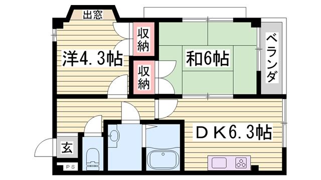 物件番号: 1115145428  姫路市国府寺町 2DK マンション 間取り図