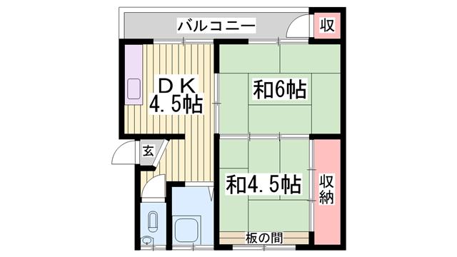 物件番号: 1115146090  姫路市御立中5丁目 2DK マンション 間取り図