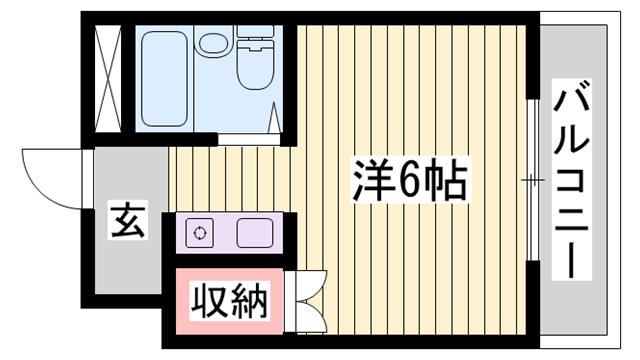 物件番号: 1115146161  加古川市平岡町新在家 1K ハイツ 間取り図