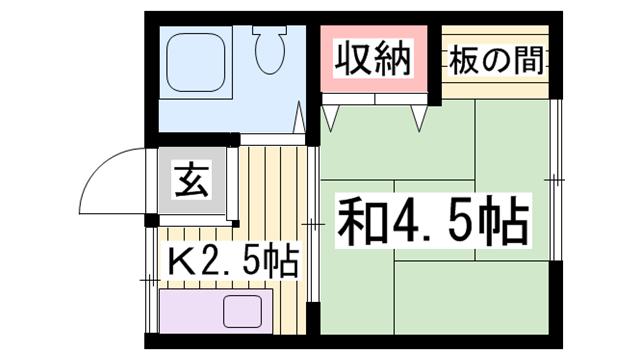物件番号: 1115146198  姫路市東今宿6丁目 1K ハイツ 間取り図