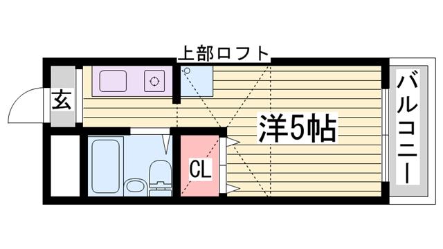 物件番号: 1115146555  加古川市平岡町新在家 1R マンション 間取り図