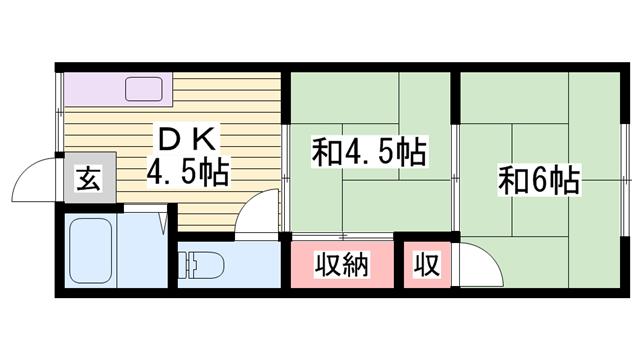 物件番号: 1115146948  姫路市白浜町 2DK ハイツ 間取り図