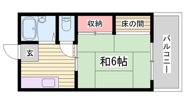 物件番号: 1115148778  姫路市砥堀 1K ハイツ 間取り図