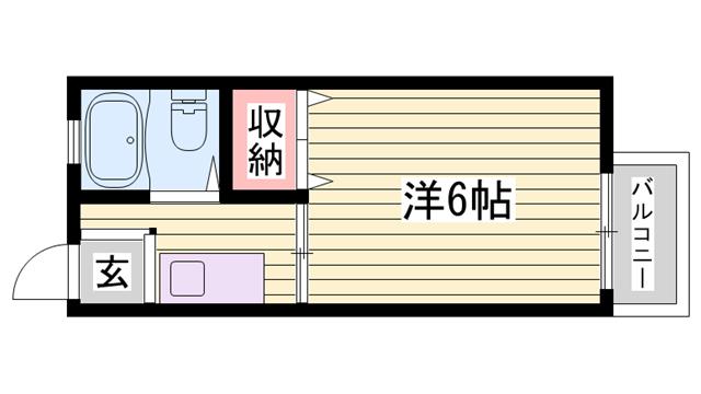 物件番号: 1115148849  姫路市東辻井1丁目 1K ハイツ 間取り図