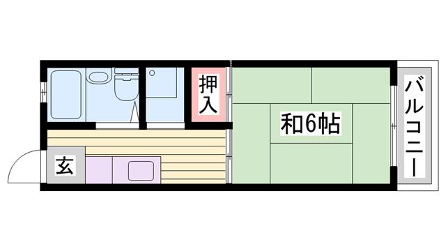 物件番号: 1115150388  姫路市城北新町2丁目 1K ハイツ 間取り図