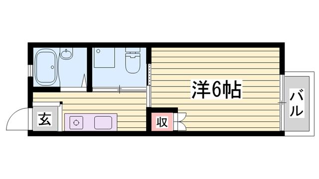 物件番号: 1115151181  姫路市御立中8丁目 1K ハイツ 間取り図