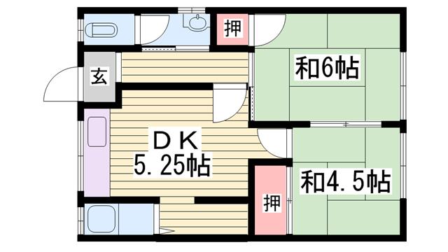 物件番号: 1115151308  姫路市飾磨区下野田1丁目 2DK 貸家 間取り図