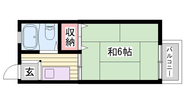 物件番号: 1115151343  姫路市東辻井1丁目 1K ハイツ 間取り図