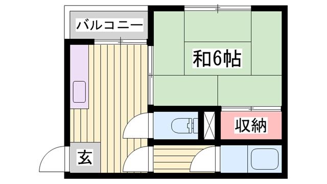 物件番号: 1115152278  姫路市船丘町 1DK ハイツ 間取り図